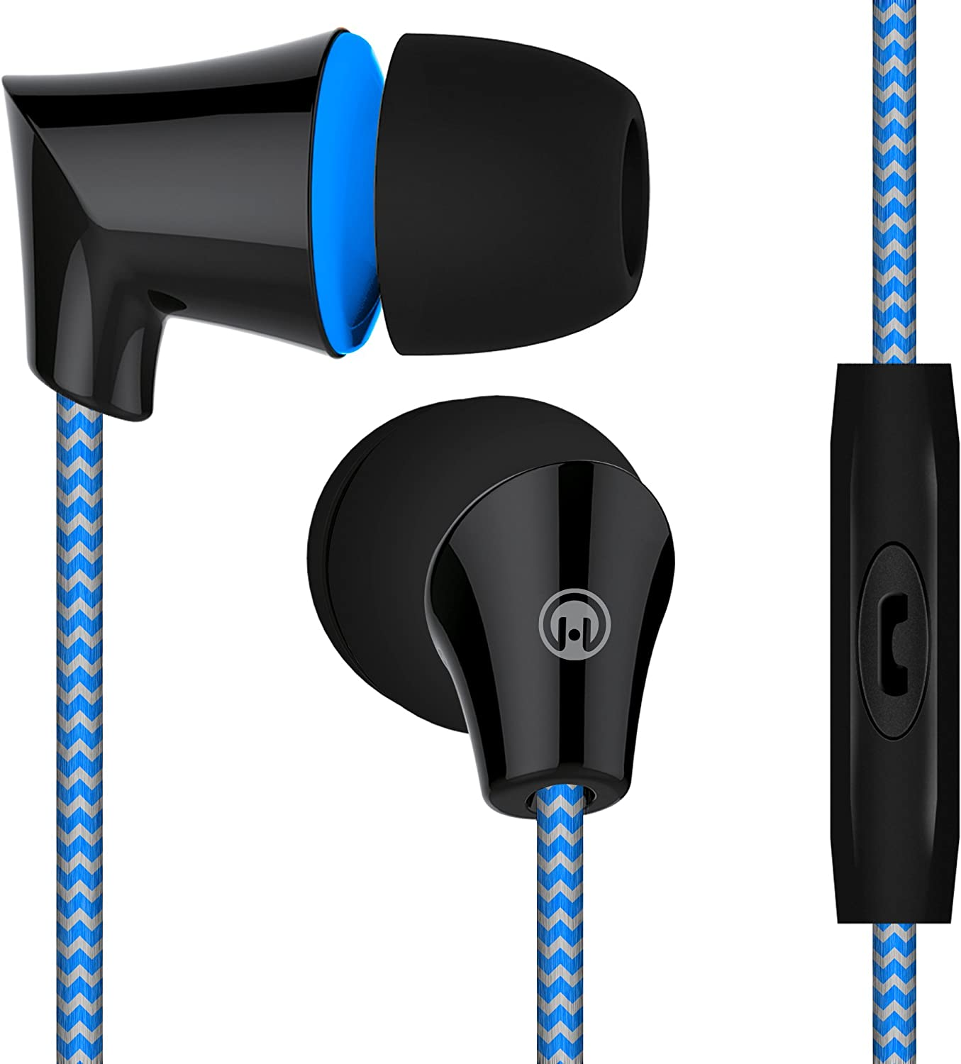 HyperGear Sound Wavez Earphones. In-line Microphone, Hands-free Calls Music. Comfort-fit Ear Gels Blocks out Noise Seal in Sound, Tangle-Free Braided Cable,10mm Neodymium Precision Bass Blue
