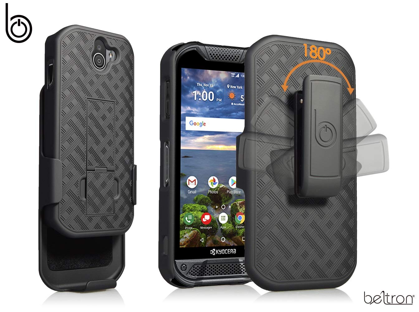 quality design a75de a544d Kyocera DuraForce Pro 2 Case with Belt Clip Holster, Heavy Duty Slim Shell  Holster Combo with Built-in Kickstand for Verizon Wireless Kyocera E6900 ...