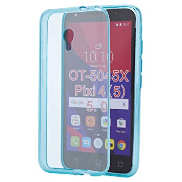 32nd Funda Slim Gel de Silicona Transparente para Alcatel Pixi 4 (5) (4G version - OT-5045) Carcasa Ligera Ultra Fina - Azul Claro