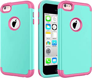 J.west iPhone 5C Case. Hard PC Shell and Soft Silicone Hybrid 3 in 1 Pieces Shockproof Anti-Scratch Combo Cover for iPhone 5C - Mint/Pink