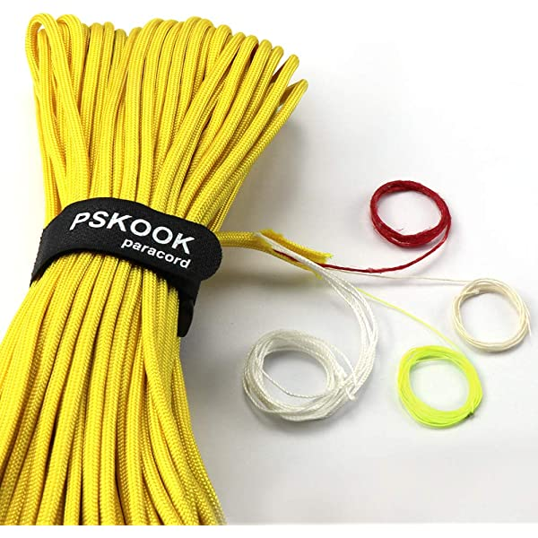 100 Feet PSKOOK Survival Paracord Parachute Fire Cord Survival Ropes Bushcraft Red Tinder Cord PE Fishing Line Cotton Thread 7+3 Strands 25