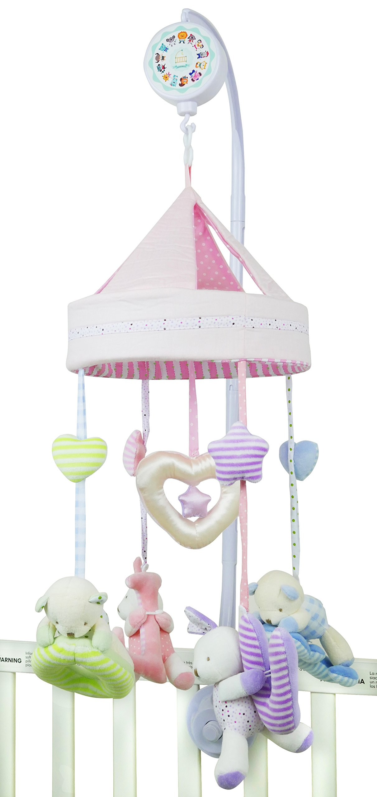 Musical Mobile for Crib with Music Box (SD Card Included) and Adjustable Hanger Great Tool for Baby's Brain Development