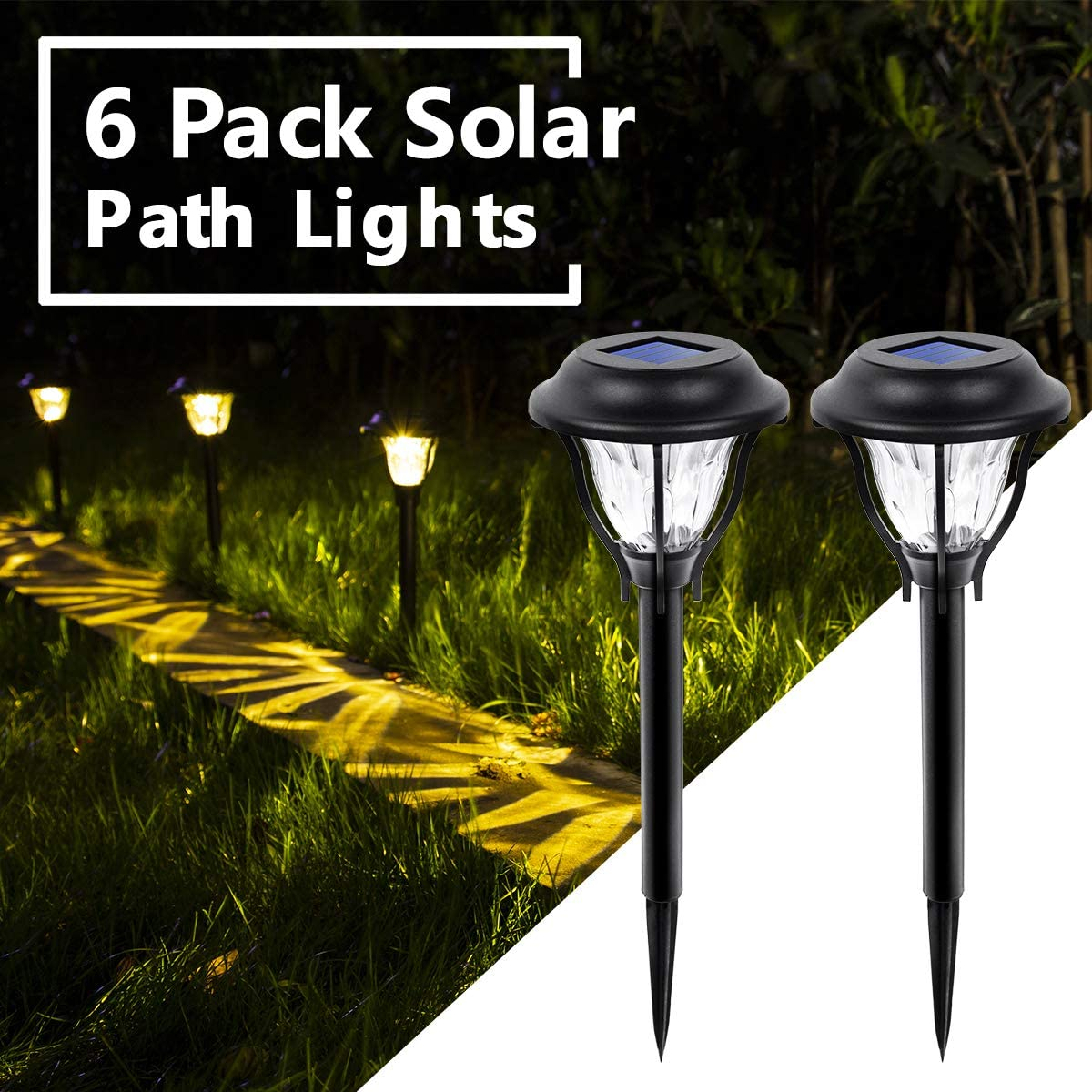 6 Pack LED Solar Pathway Lights SOLPEX Solar Path Lights Outdoor Walkway Warm White Patio Waterproof Solar Yard Lights for Yard Landscape