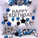 OSG Crafters Happy Birthday Letter Foil Balloon Set of Silver + Pack of 30 HD Metallic Balloons (Blue, Black and Silver) (Blue, Pack of 30)