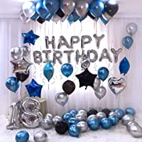 OSG Crafters Happy Birthday Letter Foil Balloon Set of Silver + Pack of 30 HD Metallic Balloons (Blue, Black and Silver)