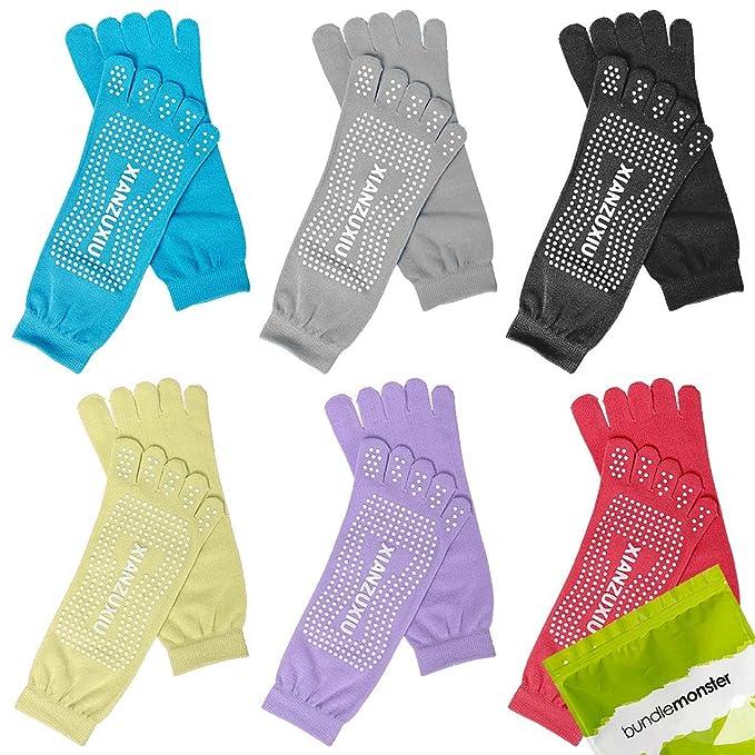 6 Bundle Monster pares de para mujer anti-slip Color con mango ergonómico para cabezales Feety Yoga ejercicios en calcetines para de mezcla: Amazon.es: Ropa ...