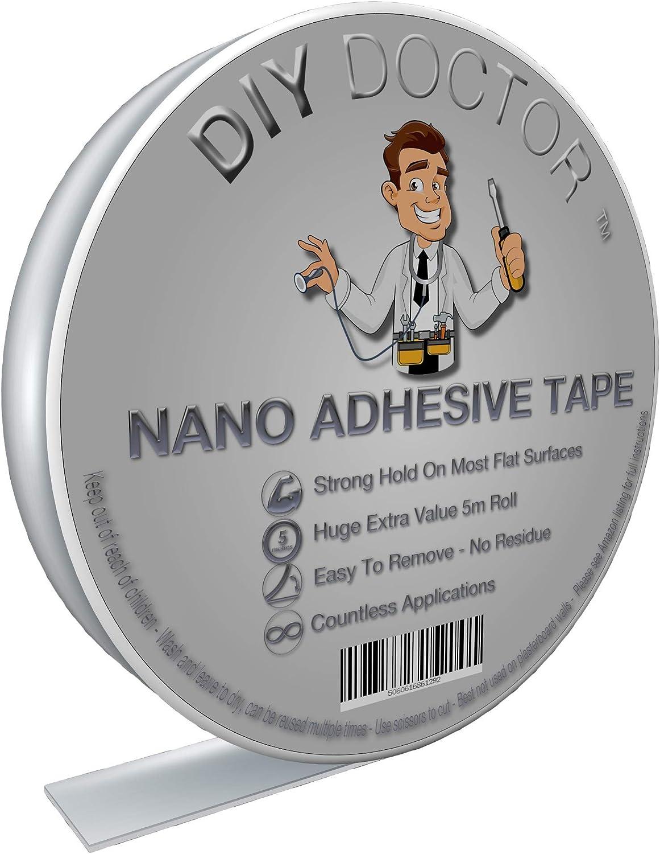 Diy Doctor Nano Cinta Adhesiva de Doble Cara - Cinta Multiusos Reutilizable con Gran Fuerza de Agarre – Cinta de Gel Extraíble Sin Dejar Marcas – Gran Rollo de 30 mm x 5 m