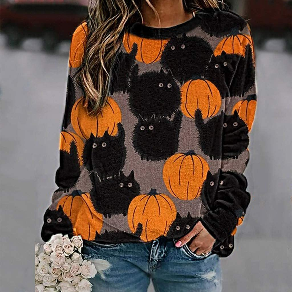 DEELIN Womens Sweatshirt Fashion All-Match Halloween Cat Pumpkin Print Stretchable Long Sleeve O-Neck Pullover Blouse Tops Plus Size Winter Autumn