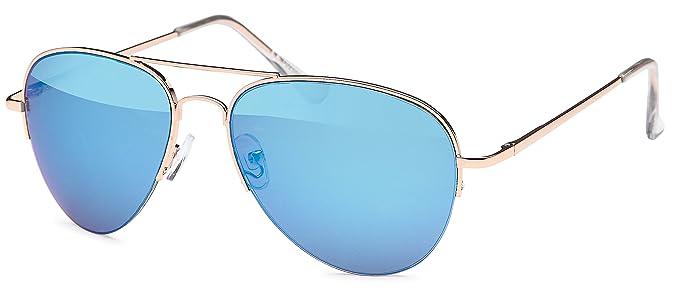 Hochwertige Piloten-Sonnenbrille mit verspiegelten polarisierten Gläsern, UV400 und Federscharnier in 2 Farben - im Set mit Zubehör (blau verspiegelt)