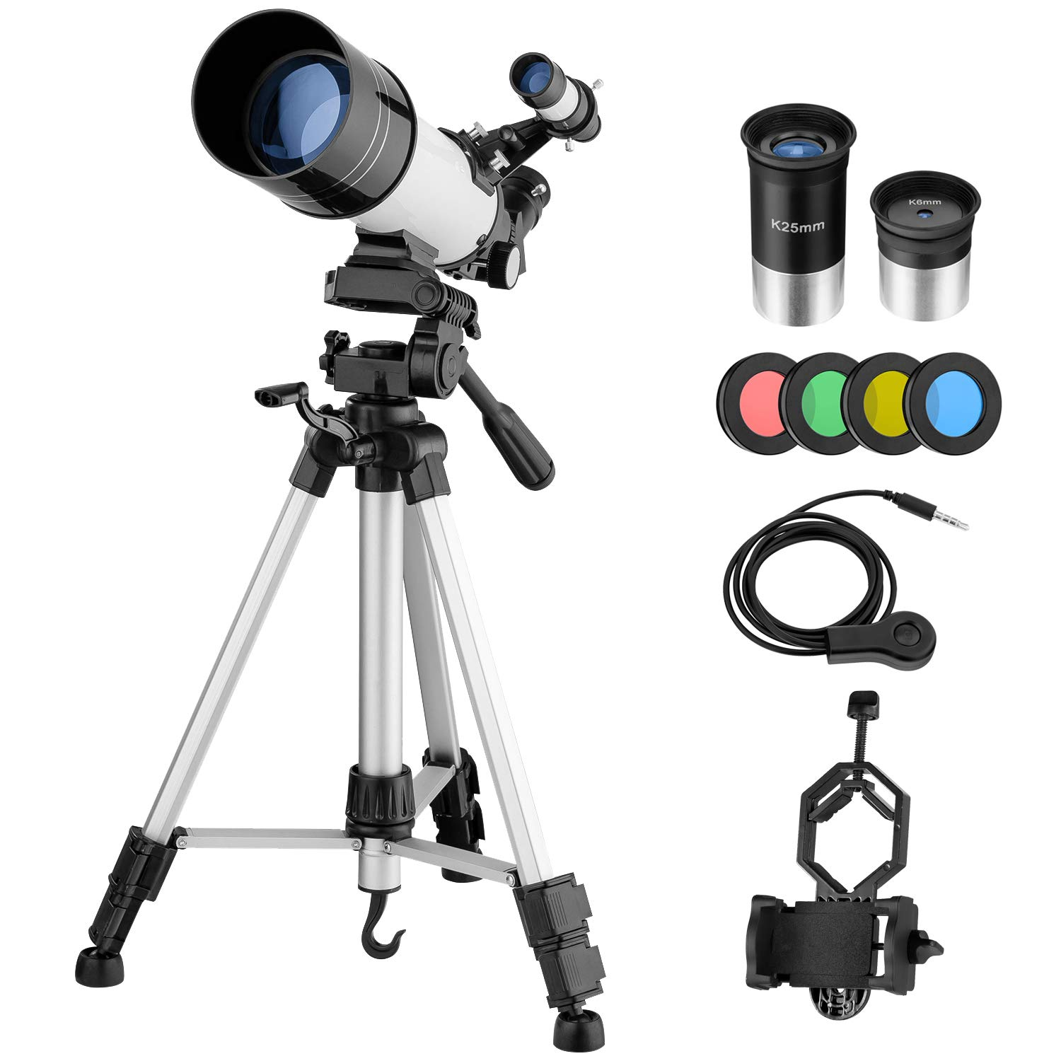 MAXLAPTER Telescope for Kids Adults Astronomy Beginners, 70mm Aperture Refractor Telescope for Astronomy, Portable Travel Telescope with Tripod, Smartphone Adapter, Two Eyepieces, Backpack