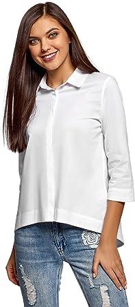 oodji Ultra Mujer Camisa Holgada con Parte Inferior Asimétrica: Amazon.es: Ropa y accesorios