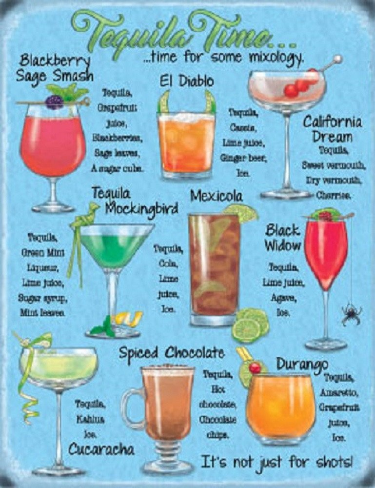 Tequila Cocktails Drink Recipes Party Bar Pub Club Small Metal Steel Wall Sign