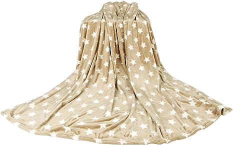 Kuscheldecke Wohndecke Flanell Decke beige 180x220cm Sternenmotiv Tagesdecke