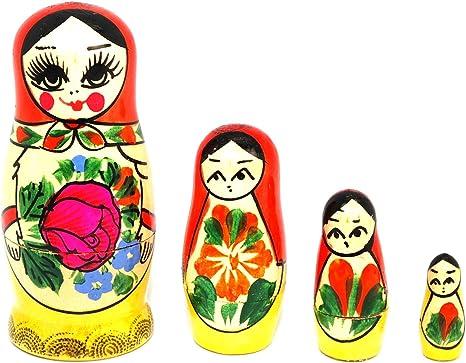 Hand Painted Beautiful Wooden Matryoshka Doll 5 Nested 3 1//2 Inch Tall