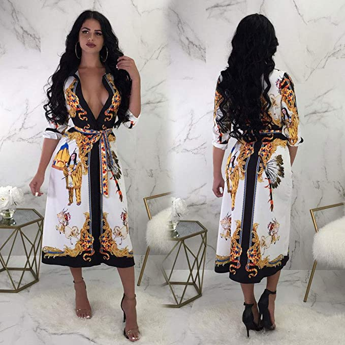a8d1c27b0f8 Ekaliy Women Sexy African Dresses - Dashiki Midi Dress with Long Sleeve at Amazon  Women s Clothing store