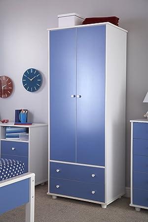 Home Source garçons Haut Bleu/blanc 2 Armoire à portes de meubles ...
