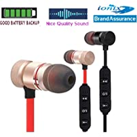 Ionix Stereo Wireless Magnetic Bluetooth Headset for All Smartphones, Wireless Bluetooth,Bluetooth Earphones for Mobile with mic (Red/Black) (Magnetic Bluetooth)