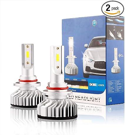 Pack of 2 16000LM Super Bright 9005 LED Headlight Bulbs HB3 LED Headlight Bulbs Conversion Kit with Cooling Fan H10 Fog Light 9140 LED 9145 6500K Xenon White YORKIM 9005 LED Bulbs Canbus Ready