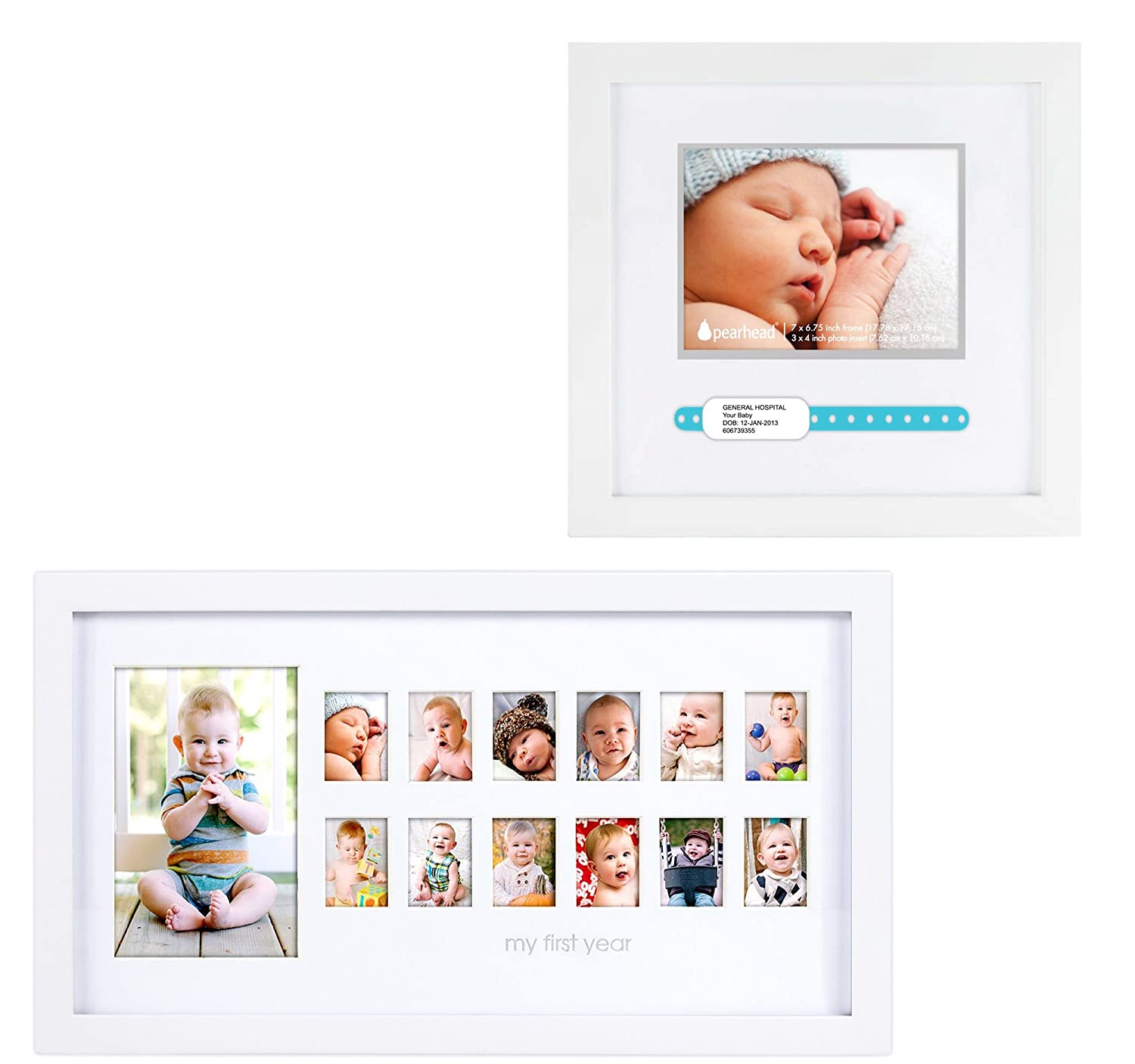"Maven Gifts: Pearhead ID Bracelet Frame, White with Pearhead ""My First Year"" Photo Moments Frame, White"