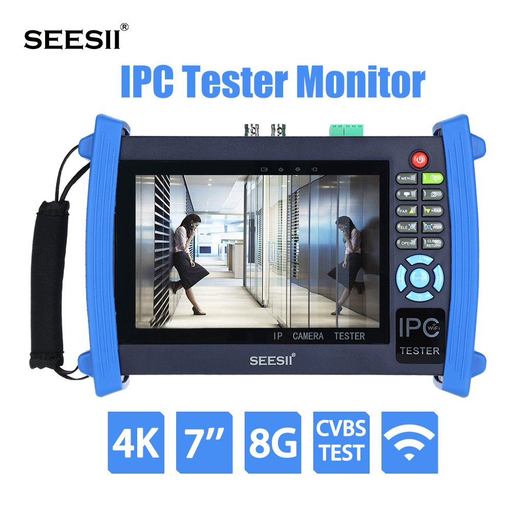 4K 7 inch IPC CCTV Camera Monitor Tester CVBS Analog Test Touch Screen With IP Discovery HDMI Output 8GB WIFI PoE 4K H.265 PTZ Control Seesii