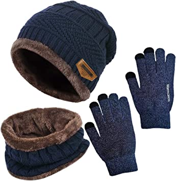 Tuopuda Winterm/ütze Herren Damen M/ütze Touchscreen Handschuhe Beanie Warme M/ütze Strickm/ütze Winterschal Herren mit Fleecefutter