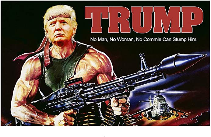 Amazon.com : Trump Rambo Flag, 2020 Donald Trump Flag Gun Commie 3x5 Feet  Keep America Great Flag for Light Weight Breeze Flying, Donald Trump for  President 2020 Flag 3x5 FT with Grommets