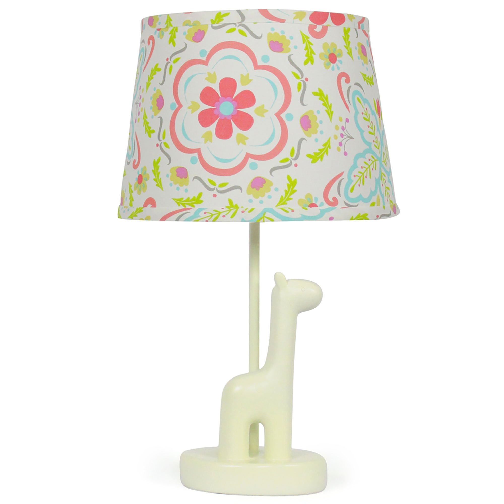 Coral Floral Nursery Lamp Shade with White Giraffe Base, CFL Bulb Included