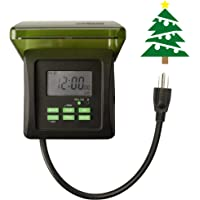 Woods 50015 50015WD Outdoor 7-Day Heavy Duty Digital Plug-in Timer, 2 Grounded Outlets, Perfect for Automating Holiday/Christmas Lights, 3/4 Horse Power, Black & Green