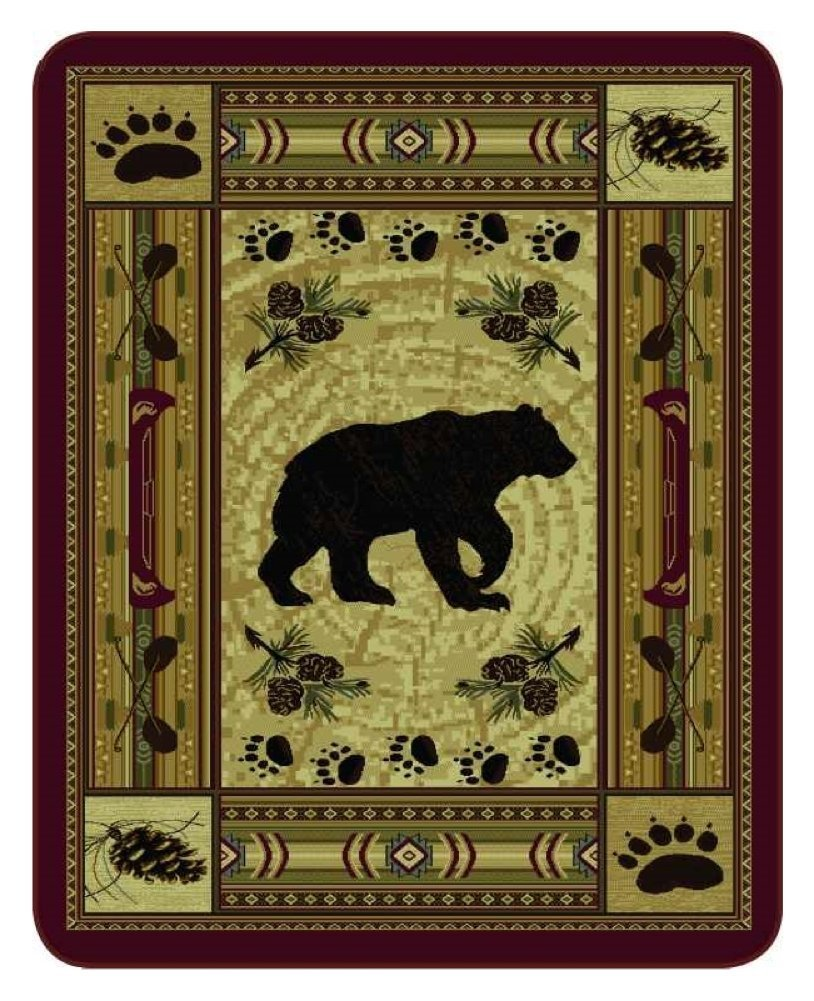 """""""Native Bear Patchwork"""" Officially Licensed Faux Fur™ Medium Weight Blanket, Queen Size"""
