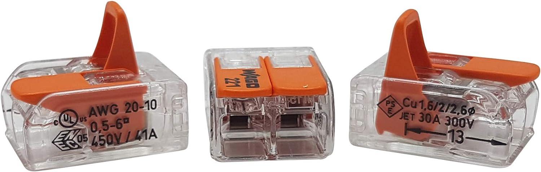 transparent 30 pi/èces Wago 221-415 borne de raccordement 5 fils avec levier 0,2-4 qmm petit mod/èle