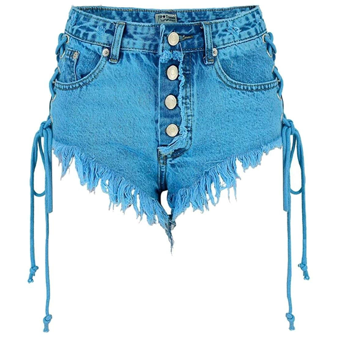 d6fea6d421c7 Alion Womens Lace up Distressed Shorts Pants High Waist Ripped Vintage  Denim Bandage Hot Shorts at Amazon Women's Clothing store: