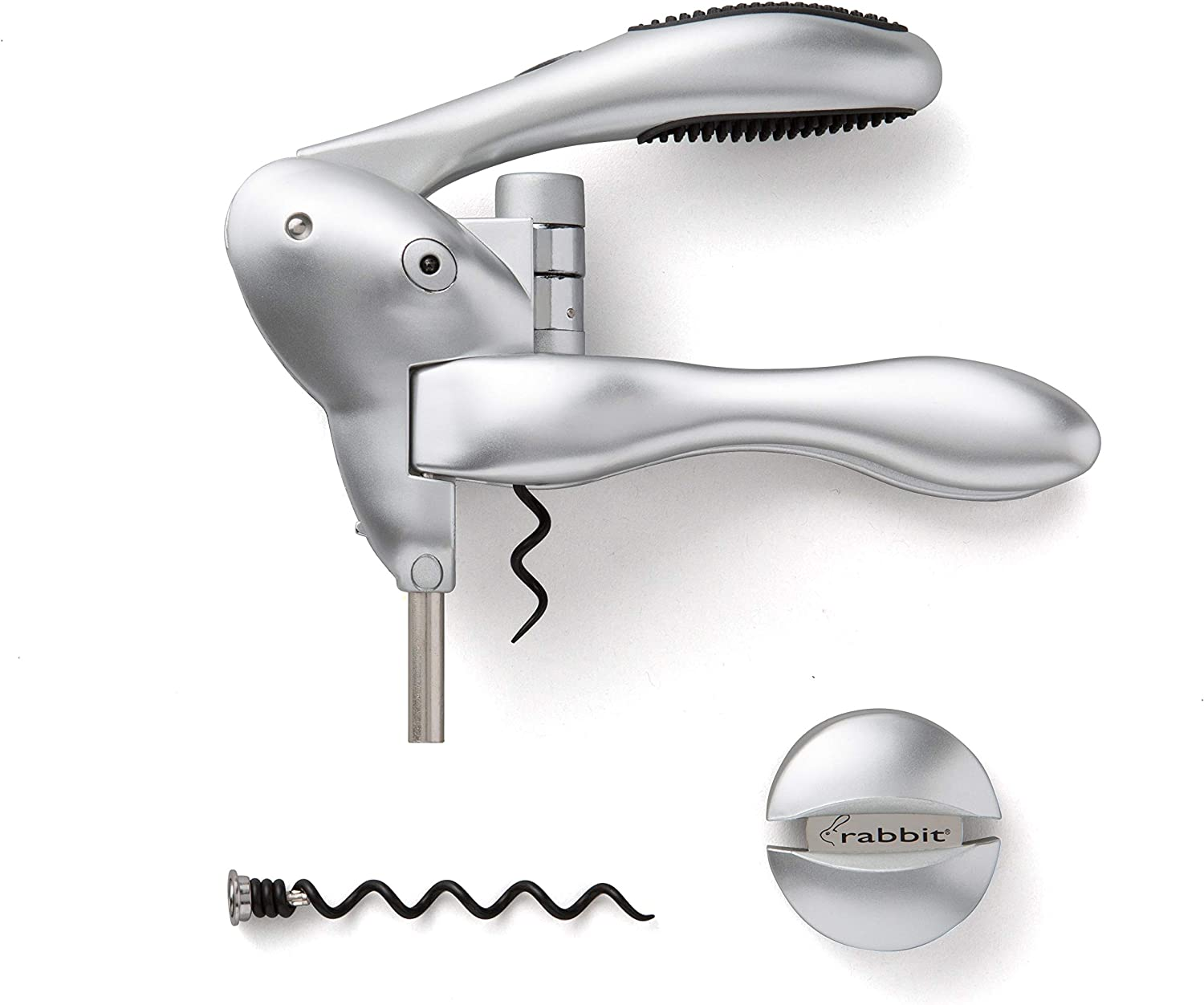 Rabbit Original Lever Corkscrew Wine Opener with Foil Cutter and Extra Spiral (Silver)