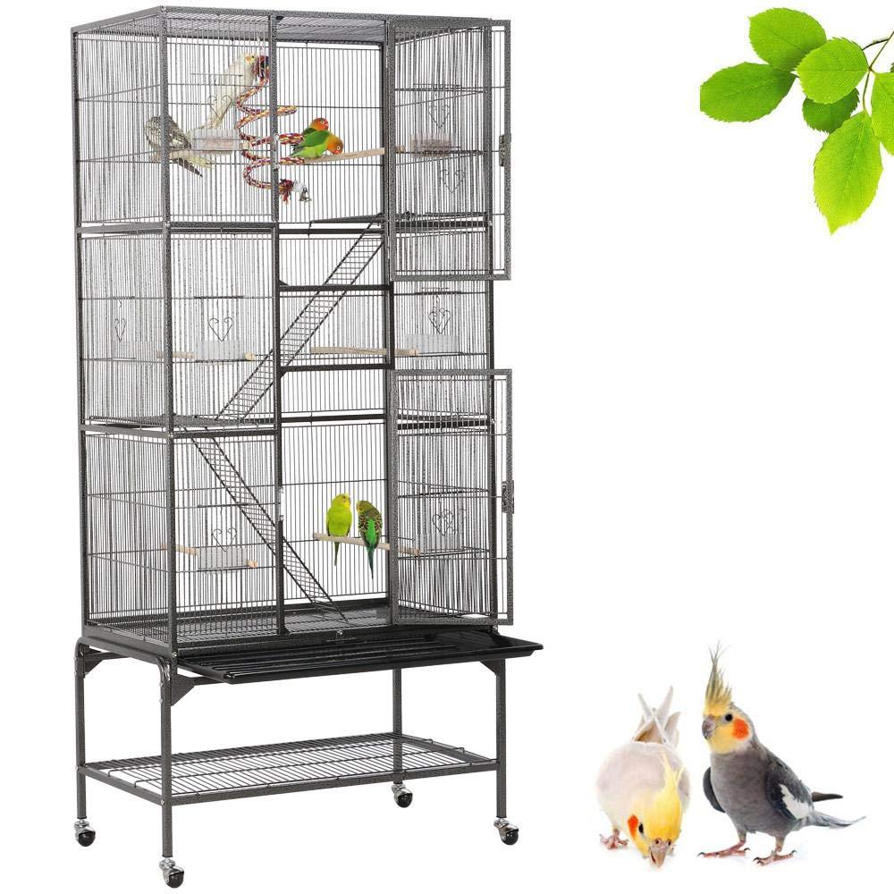Yaheetech Gabbia Voliera per Uccelli Pappagalli Conigli Criceti Gatti Grande in Metallo e Legno con Giocattolo 77 x 46 x 130 cm Nera