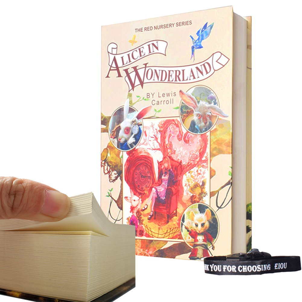 Real Paper Diversion Book Safe with key Anti-Theft Safe Secret Box/ Money Hiding Box/ Collection Box-Alice In Wonderland