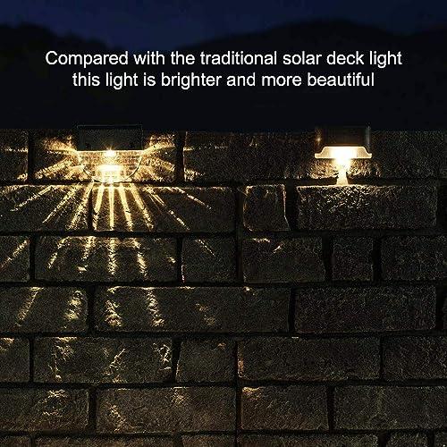 Solar Deck Lights, Outdoor Lighting Backyard Decor Outside Step Lights Garden Post Fence – 6 Pack