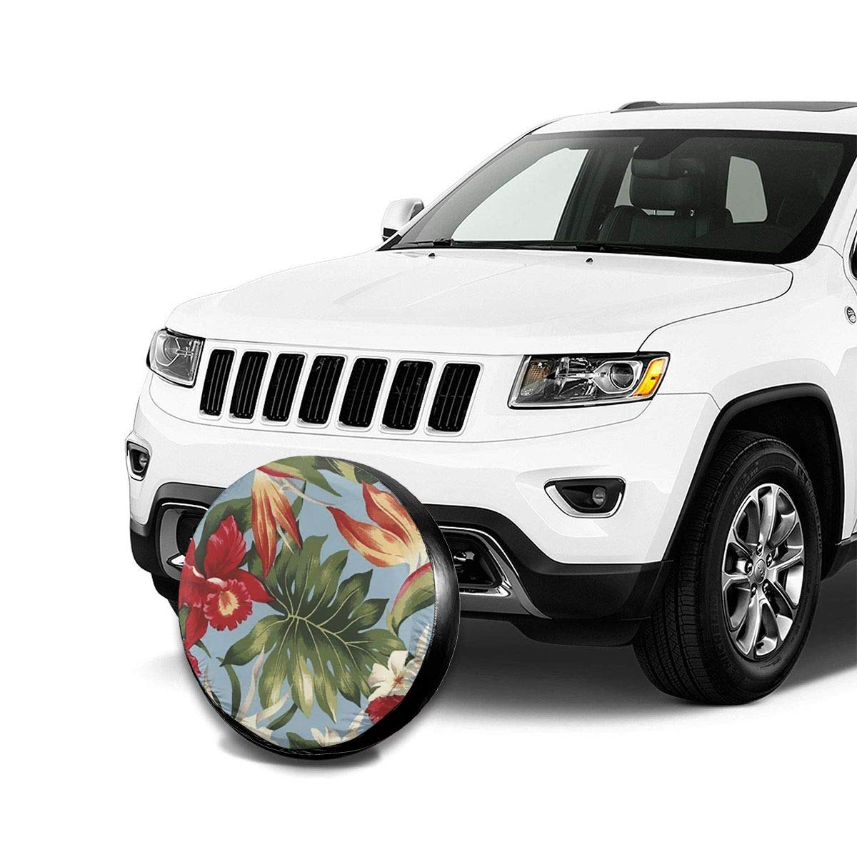 CHILL TEK Tropical Hawaiian Hibiscus Flowers Jeep Truck SUV RV Trailer Camper Car Spare Wheel Cover with Adjustable String and Buckle Design Durable Easy to Clean