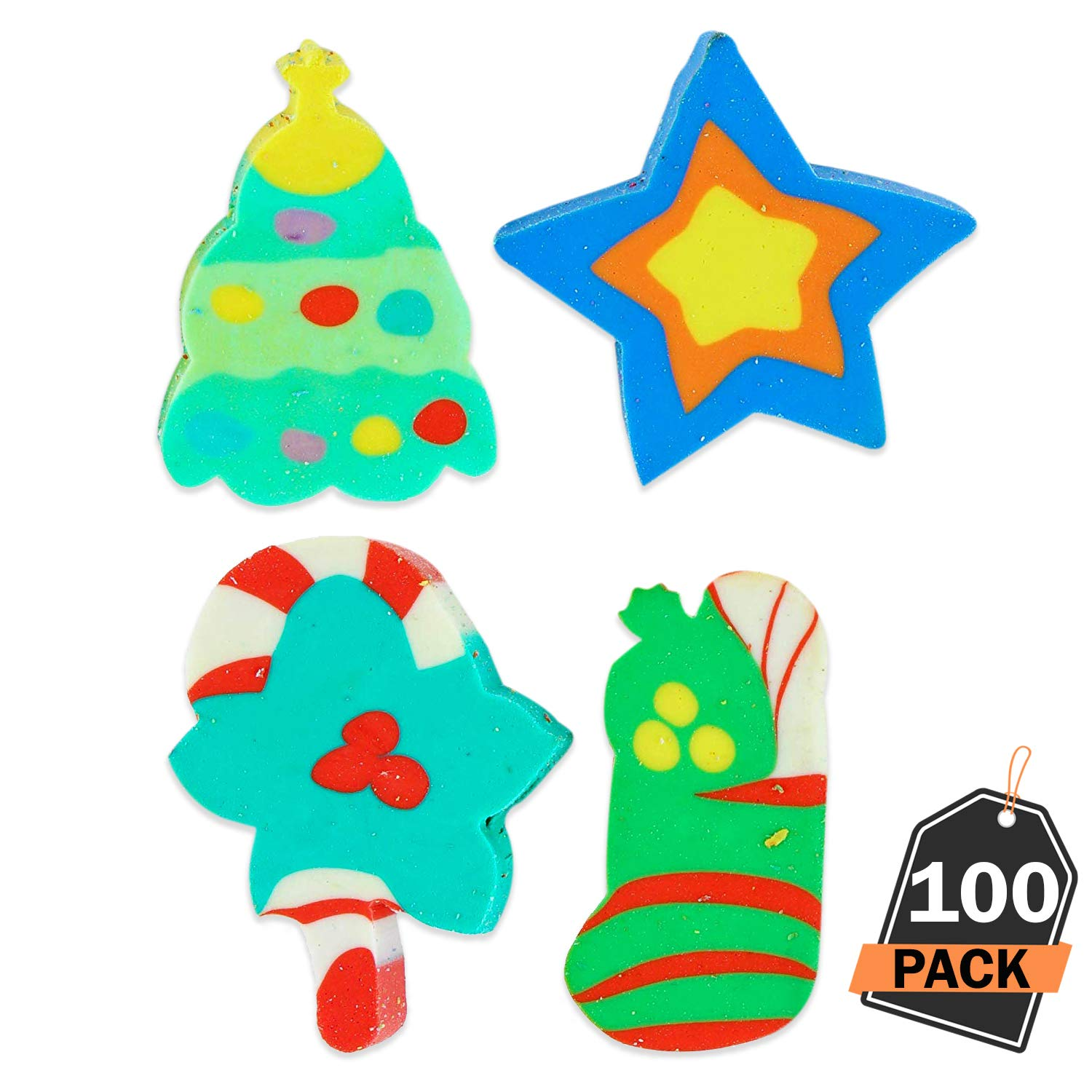 Kompanion 100 Piece Christmas Erasers and Pencil Toppers, Fun Party Favors, Christmas Stocking Fillers, Class, 4 Festive Designs .