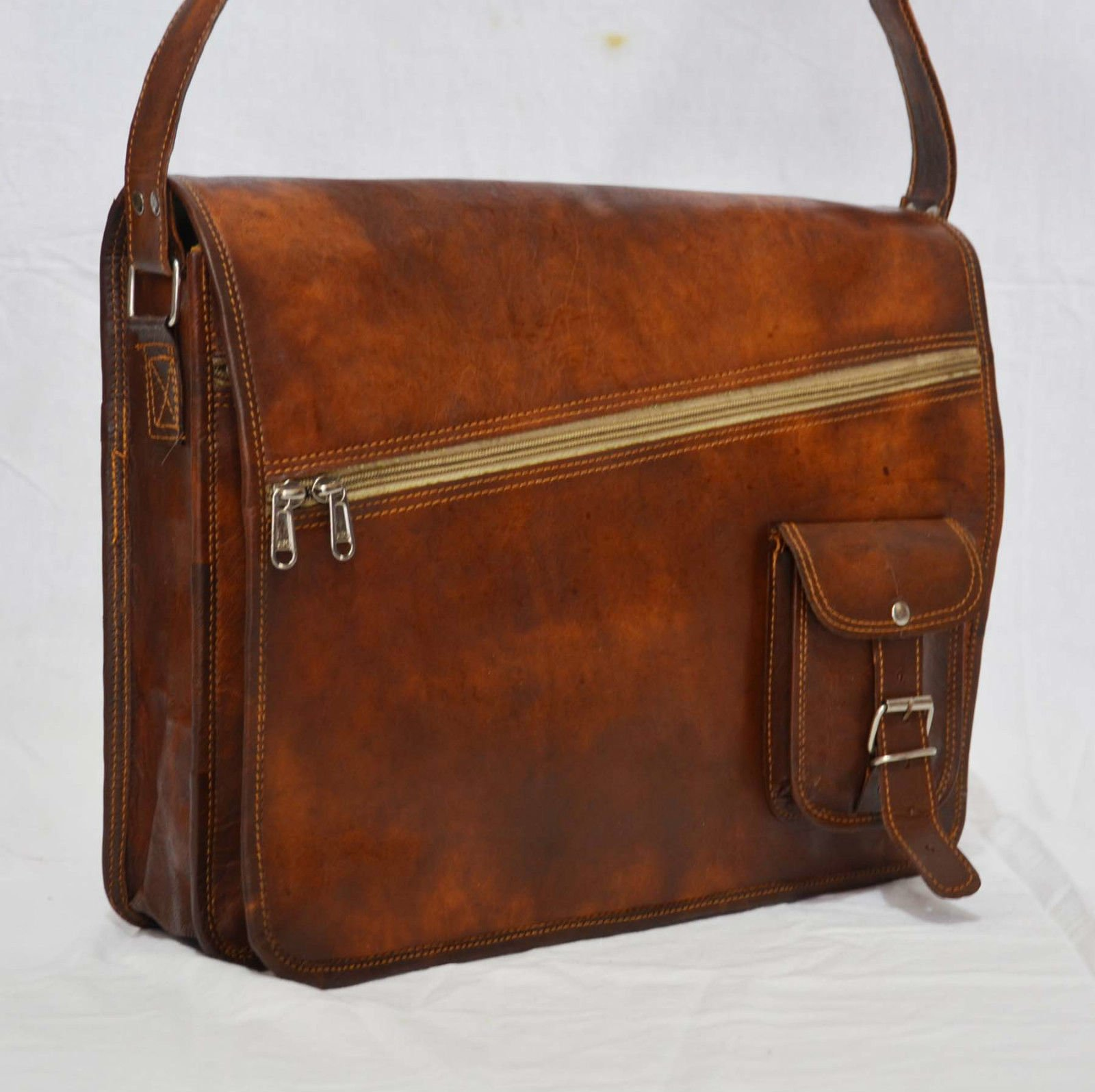 thehandicraftworld Vintage leather messenger Real goat hide satchel bag genuine laptop briefcase