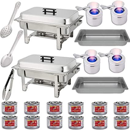 Astonishing Chafing Dish Buffet Set W Fuel Water Pans Food Pans 8 Qt Frames Lids Fuel Holders 12 Fuel Cans Serving Utensils 15 Perforated Spoon Interior Design Ideas Apansoteloinfo