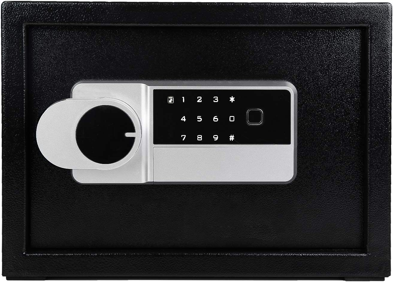 LETTON Security Safe Lock Box, Digital and Fingerprint Lock with Key Lock, Steel Safe, Home Safe for Storing Jewelry Cash Valuables, Safe Box Black - 13.8 x 9.8 x 10 Inches