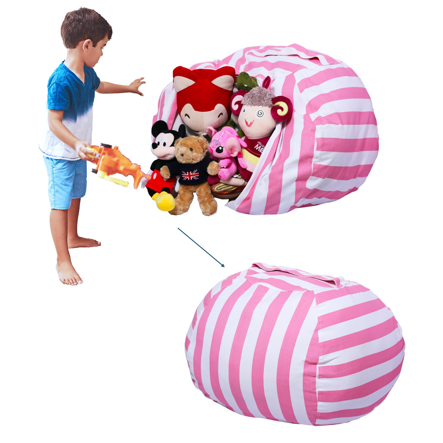 Yotree Stuffed Animal Storage Bean Bag Chair Useful Extra Large Kids Toy Organizer Clean up the Room and Put Those Critters in Order(Pink Stripes)