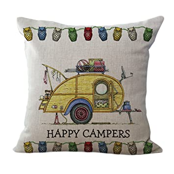 18/'/' Happy Campers caravan Linen Sofa  Cushion Cover Pillow Case Home Decor