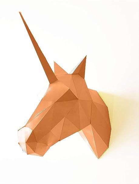 Trofeo de papel unicornio - cabeza de animal origami 3D (Naranja)