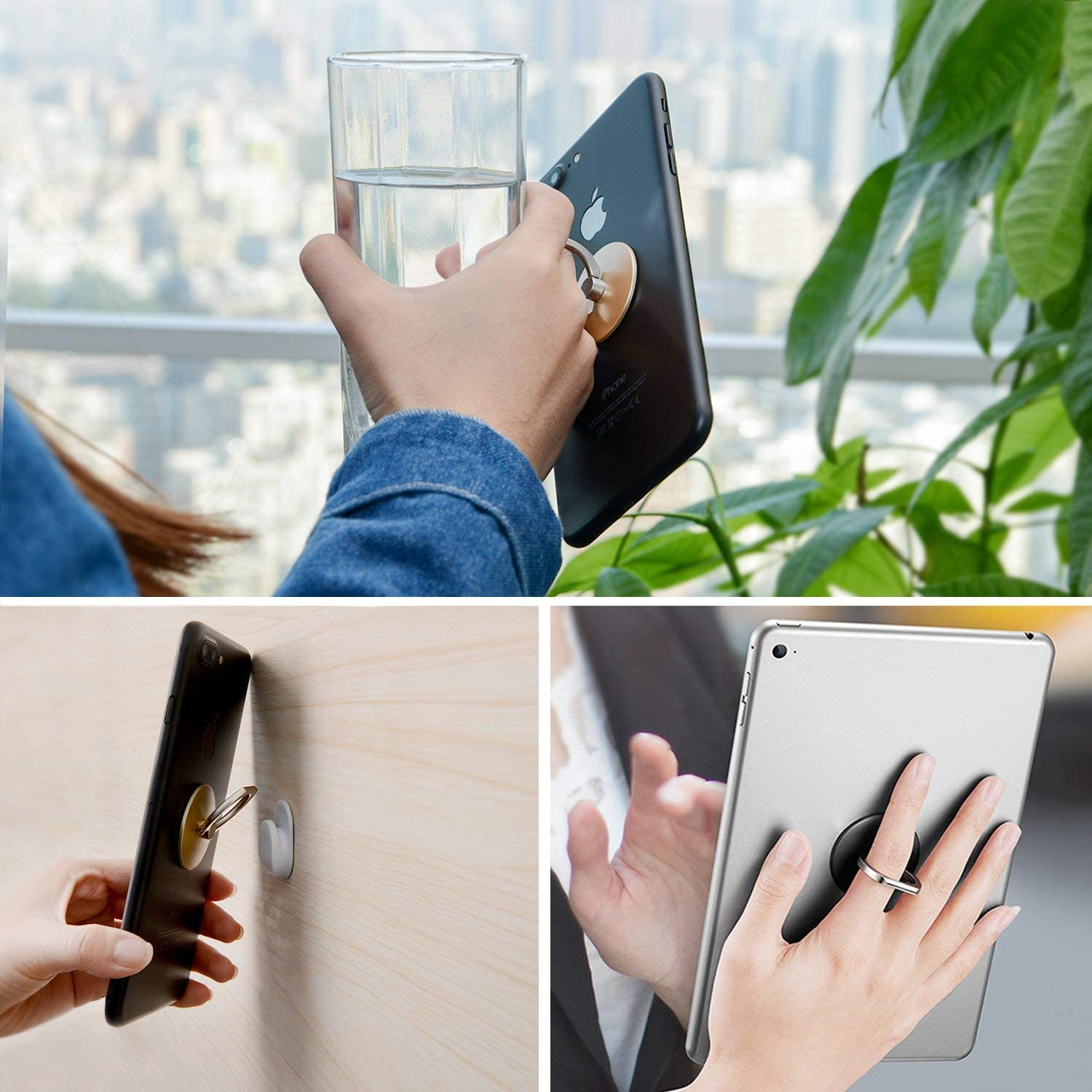 Cell Phone Finger Kickstand Loop Mount Stent 360 Degree Rotary Safe Hand Grip Compatible All iPhones Samsung Galaxy Android Pad Tablet Black