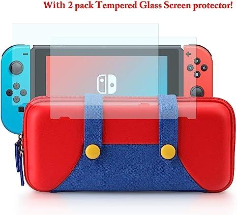 DJROLL Carrying Bag compatible con Nintendo Switch, elegante funda de transporte de carcasa dura portátil con 2 protectores de pantalla de vidrio templado, 10 ranuras para tarjetas de juego: Amazon.es: Electrónica
