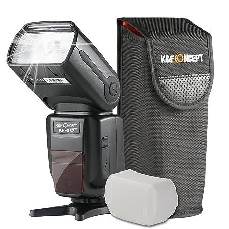 K&F Concept® E-TTL KF-882 Blitzgerät Canon Speedlite Blitz Blitzlicht für Canon mit HSS 1/8000s Masterblitzfunktion Leitzahl