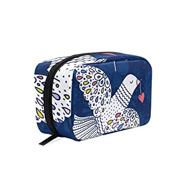 de2901e36ed2 Amazon.com : MAPOLO Peace Pigeon Dove Love Handy Cosmetic Pouch ...