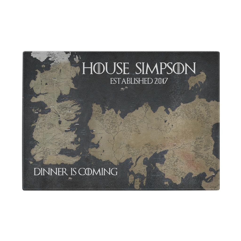 Dinner is Coming Game of Thrones Customizable Personalized Tempered Glass Cutting Board Map of Westeros made in USA by Awesome eMERCHency