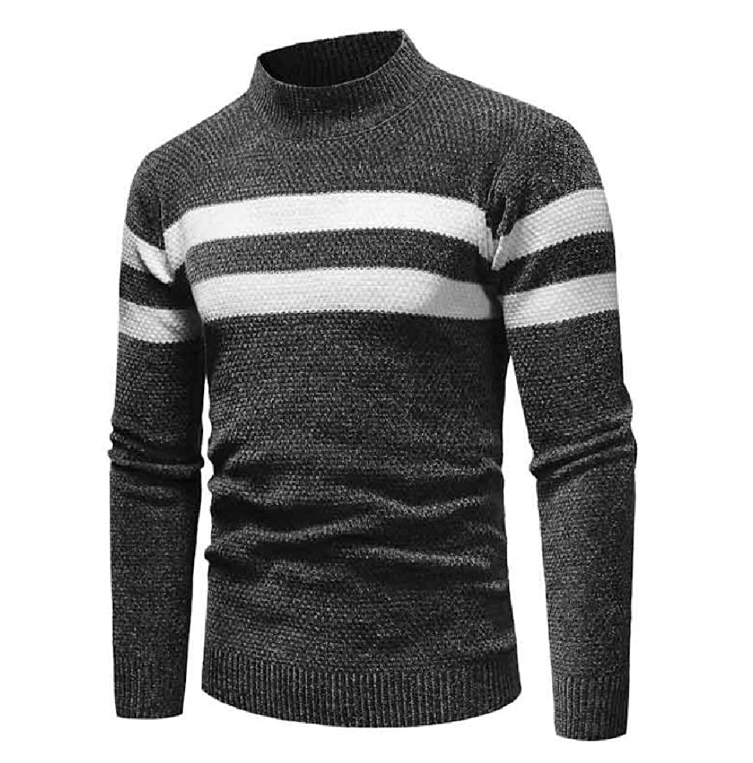 Men Stripes Relaxed-Fit Stylish Stitching Pullover Sweater Tops