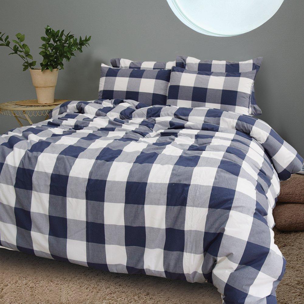 Merryfeel 100% Baumwolle Karo Garn gefärbt Bettwäsche-Set - (King Set) 230x220+2x50x75cm